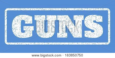 White rubber seal stamp with Guns text. Vector caption inside rounded rectangular banner. Grunge design and unclean texture for watermark labels. Horisontal emblem on a blue background.