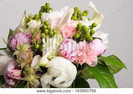 flower arrangement. Bouquet of white peonies. close-up