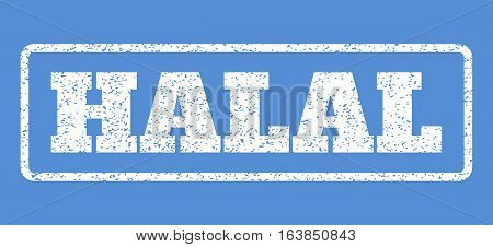 White rubber seal stamp with Halal text. Vector tag inside rounded rectangular frame. Grunge design and dust texture for watermark labels. Horisontal sticker on a blue background.