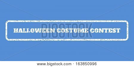White rubber seal stamp with Halloween Costume Contest text. Vector message inside rounded rectangular shape. Grunge design and scratched texture for watermark labels.