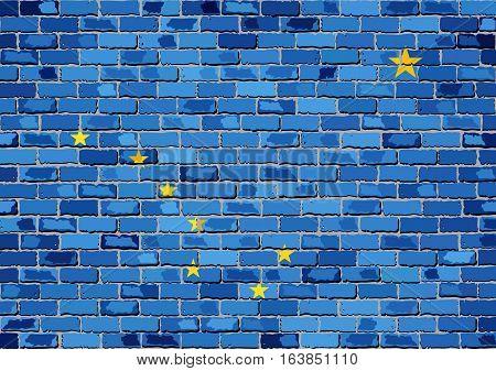 Flag of Alaska on a brick wall - Illustration,  The flag of the state of Alaska on brick background,  Alaska flag in brick style