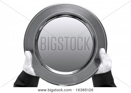 Photo of a silver tray being held by a butler, shot from above and isolated on a white background.