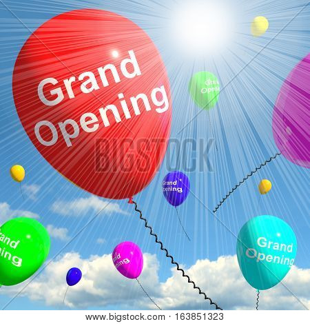 Grand Opening Balloons Showing New Store 3D Rendering