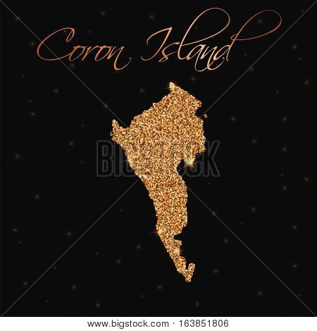 Coron Island Map Filled With Golden Glitter. Luxurious Design Element, Vector Illustration.