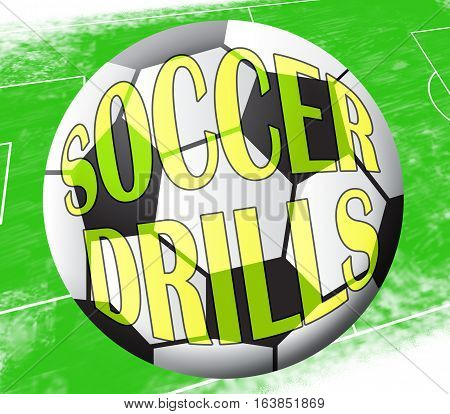 Soccer Drills Showing Football Practise 3D Illustration