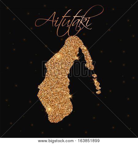 Aitutaki Map Filled With Golden Glitter. Luxurious Design Element, Vector Illustration.