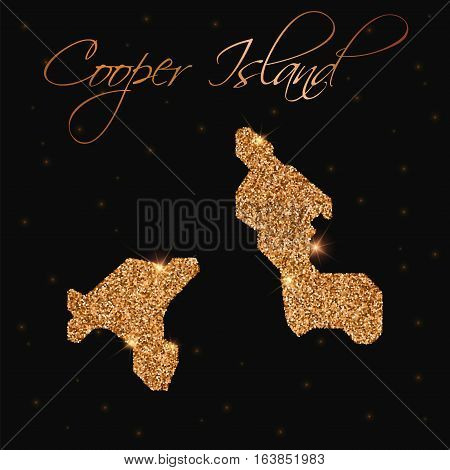 Cooper Island Map Filled With Golden Glitter. Luxurious Design Element, Vector Illustration.
