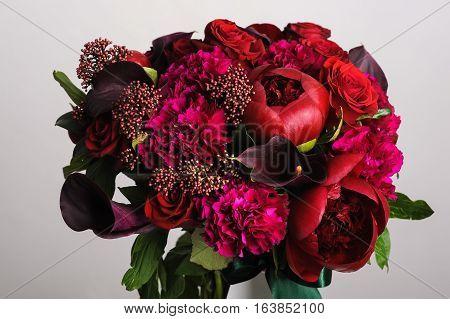flower arrangement. Bouquet of red peonies. close-up
