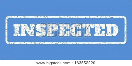 White rubber seal stamp with Inspected text. Vector caption inside rounded rectangular shape. Grunge design and dirty texture for watermark labels. Horisontal sticker on a blue background.