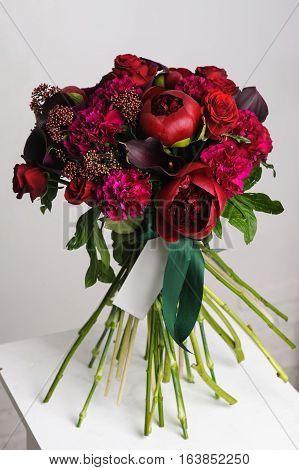flower arrangement. Bouquet of red peonies. close-up