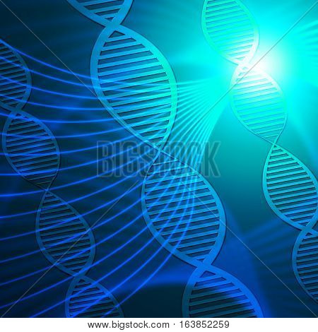 Dna Helix Showing Biotech Research 3D Illustration