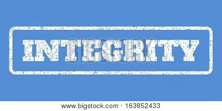 White rubber seal stamp with Integrity text. Vector tag inside rounded rectangular banner. Grunge design and unclean texture for watermark labels. Horisontal emblem on a blue background.