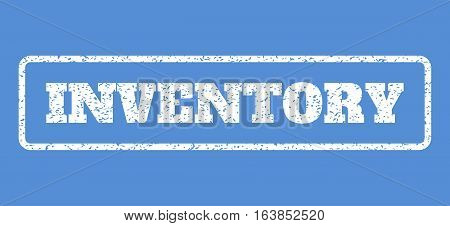 White rubber seal stamp with Inventory text. Vector tag inside rounded rectangular shape. Grunge design and dirty texture for watermark labels. Horisontal sticker on a blue background.