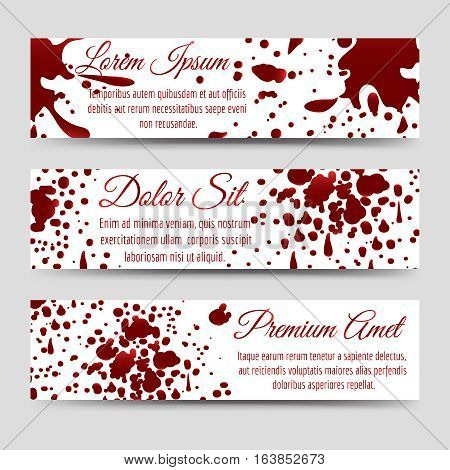Blood splashes horizontal banners templates collection. Vector illustration