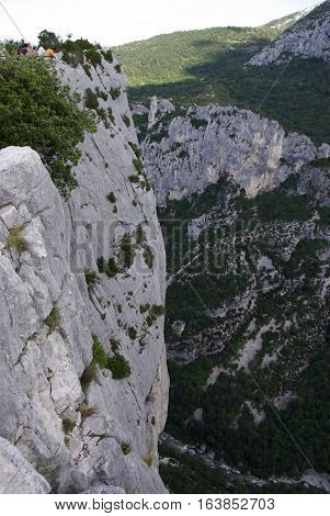 A Climber On The Overhanging Walls Of Verdon, France.