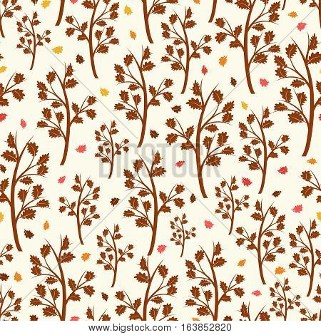 Brown oak tree and falling oak leaves seamless pattern. Vector illustration