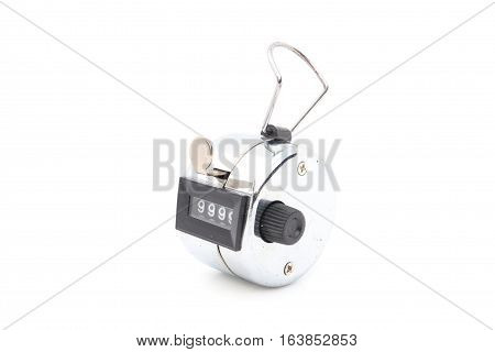 Hand counter clicker isolated on white background