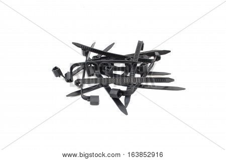 Black Cable Ties Isolated on White Background