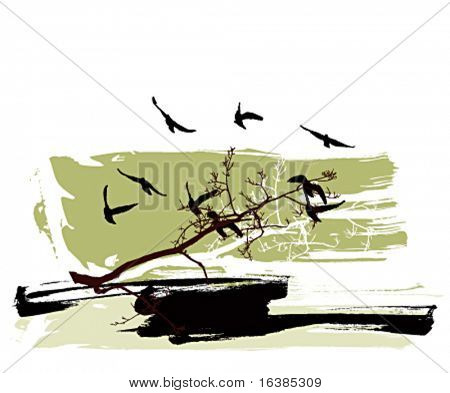 Silhouettes of trees and flying birds on a grunge background