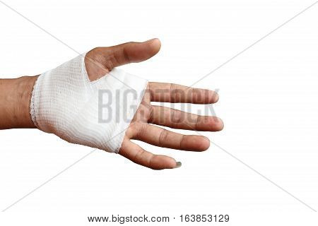 Injured painful hand with white gauze bandage. isolated on white background