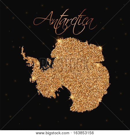Antarctica Map Filled With Golden Glitter. Luxurious Design Element, Vector Illustration.