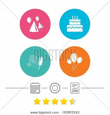 Birthday party icons. Cake, balloon, hat and muffin signs. Fireworks with rocket symbol. Double decker with candle. Calendar, cogwheel and report linear icons. Star vote ranking. Vector