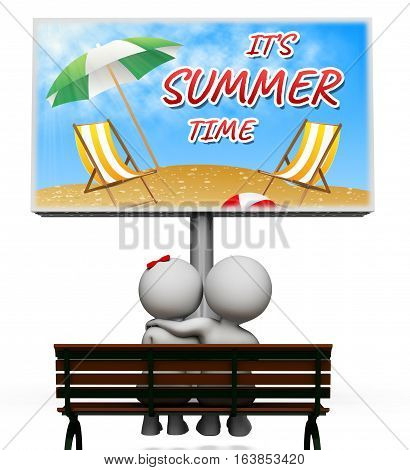 Summer Time Shows On Holiday 3D Illustration