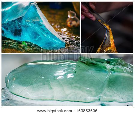 Photo set of Glass Production Industry Background
