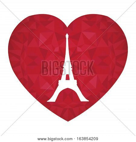 Unique Vector Eifel Tower Paris On St Valentines Day Ruby Red Heart. Symbol of Love. Perfect for travel themed postcards, greeting cards, wedding invitations. Great for travel themed postcards, greeting cards, wedding invitations, products, bags,