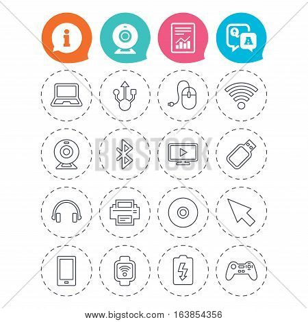 Computer elements icons. Notebook, usb port and smartphone. Printer, smart watch and game console joystick. Bluetooth, flash stick and cursor pointer. Information, question and answer icons. Vector