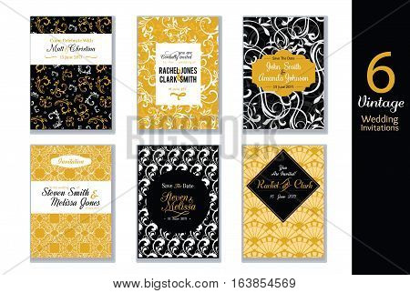 Unique Vector Set of Wedding Invitations Cards With Black, White and Gold Yellow Abstract Trendy Patterns. Great For elegant, modern event invites. With sample text. Surface pattern design. Textile design.