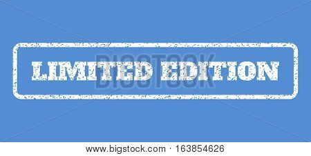 White rubber seal stamp with Limited Edition text. Vector tag inside rounded rectangular frame. Grunge design and dust texture for watermark labels. Horisontal emblem on a blue background.