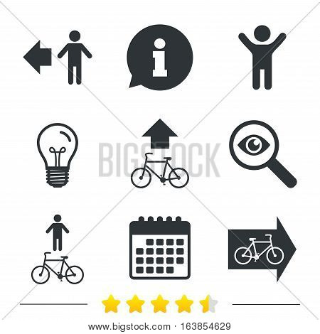 Pedestrian road icon. Bicycle path trail sign. Cycle path. Arrow symbol. Information, light bulb and calendar icons. Investigate magnifier. Vector