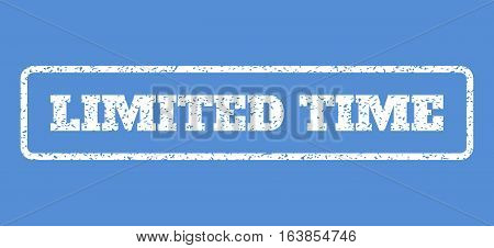 White rubber seal stamp with Limited Time text. Vector tag inside rounded rectangular banner. Grunge design and dust texture for watermark labels. Horisontal sticker on a blue background.