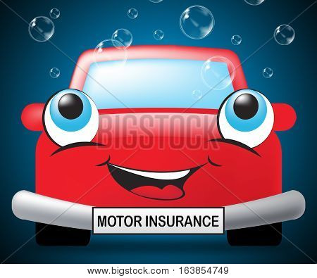 Motor Insurance Means Car Policy 3D Illustration