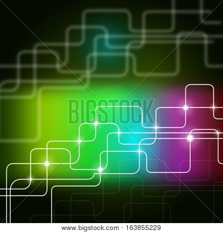 Multicolored Lines Background Shows Telecommunications And Data Pathway