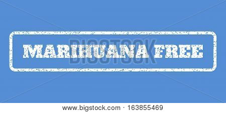 White rubber seal stamp with Marihuana Free text. Vector message inside rounded rectangular banner. Grunge design and dust texture for watermark labels. Horisontal sticker on a blue background.