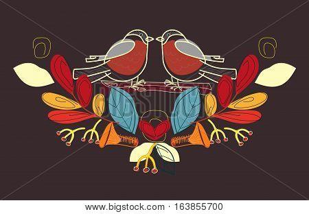 Bullfinch vintage vector illustration. Mushrooms leaves birds berries. Autumn.