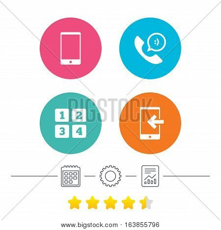 Phone icons. Smartphone incoming call sign. Call center support symbol. Cellphone keyboard symbol. Calendar, cogwheel and report linear icons. Star vote ranking. Vector