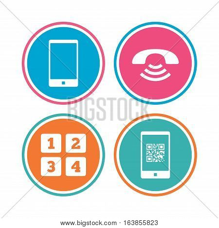 Phone icons. Smartphone with Qr code sign. Call center support symbol. Cellphone keyboard symbol. Colored circle buttons. Vector