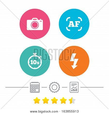 Photo camera icon. Flash light and autofocus AF symbols. Stopwatch timer 10 seconds sign. Calendar, cogwheel and report linear icons. Star vote ranking. Vector