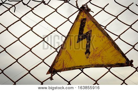 Vintage Electricity Warning Triangle Sign