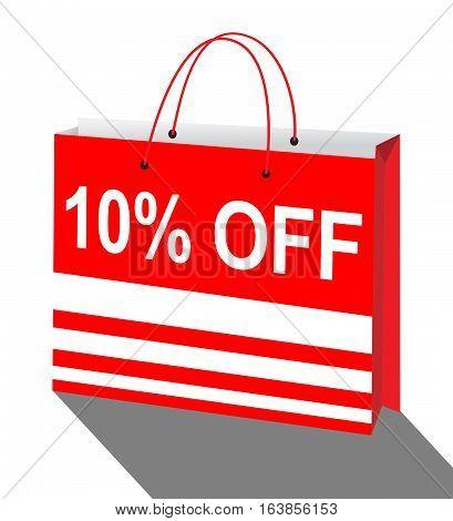 Ten Percent Off Bag Means Reductions 3D Illustration.