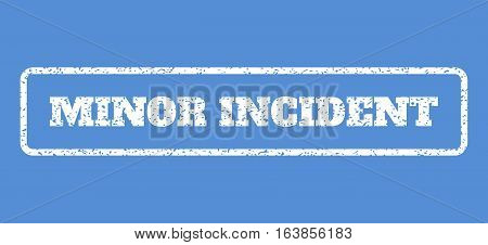 White rubber seal stamp with Minor Incident text. Vector caption inside rounded rectangular frame. Grunge design and scratched texture for watermark labels. Horisontal emblem on a blue background.