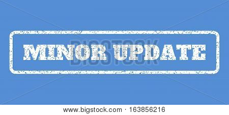 White rubber seal stamp with Minor Update text. Vector tag inside rounded rectangular frame. Grunge design and dust texture for watermark labels. Horisontal sign on a blue background.