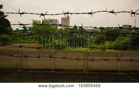 Barbed wire fence protection at Kariadi General Hospital photo taken in Semarang Indonesia java