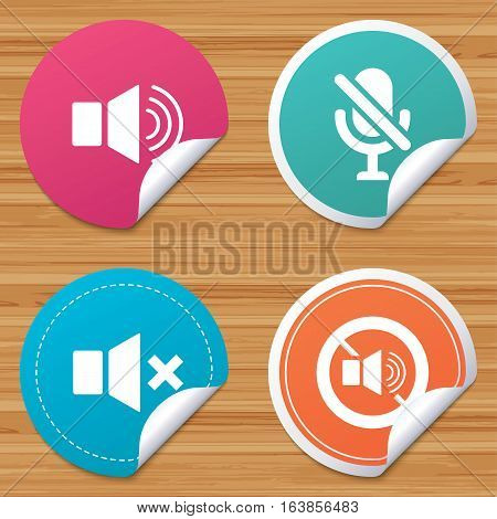 Round stickers or website banners. Player control icons. Sound, microphone and mute speaker signs. No sound symbol. Circle badges with bended corner. Vector
