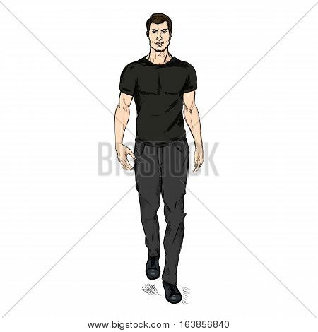 Vector Sketch Fashion Male Model In Trousers And T-shirt