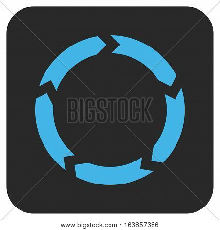 Circulation glyph icon. Image style is a flat icon symbol on a rounded square button blue and gray colors.