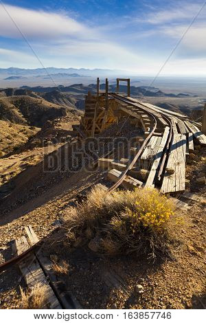 Old gold mining tracks a trestle in the Nevada desert